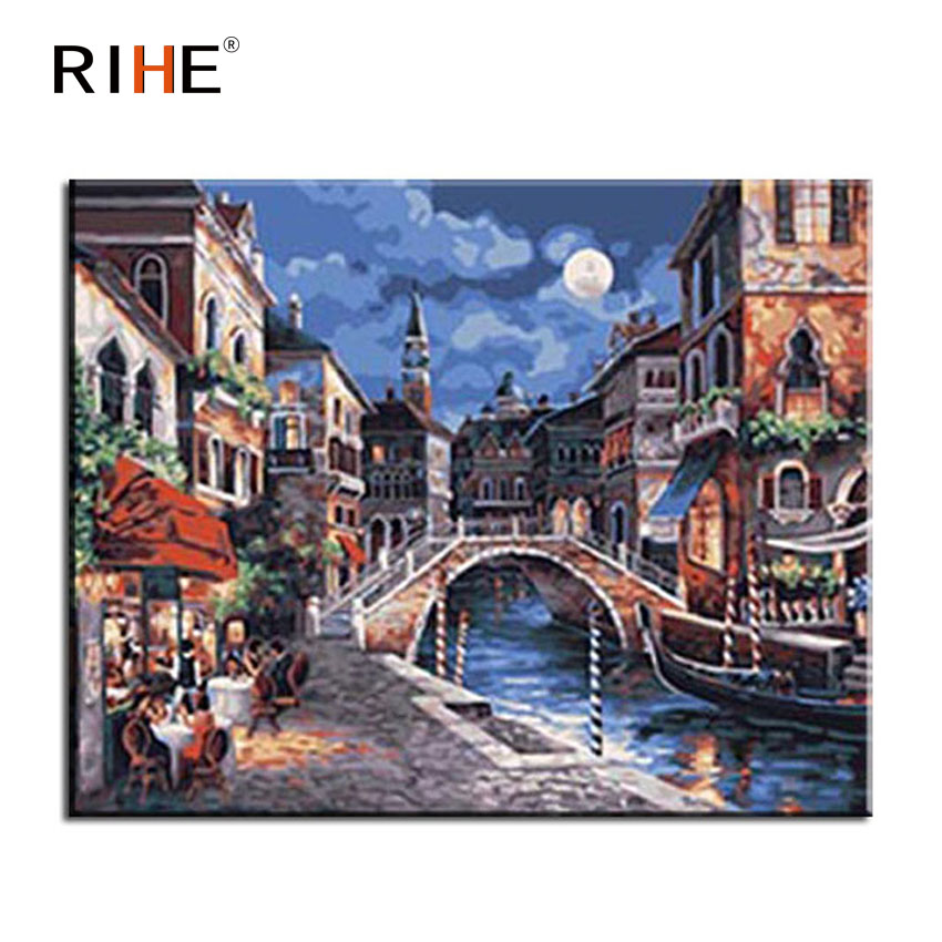 RIHE Moon Town Diy Painting By Numbers Abstract Bridge River Oil On Canvas Cuadros Decoracion Acrylic Wall Picture 2018
