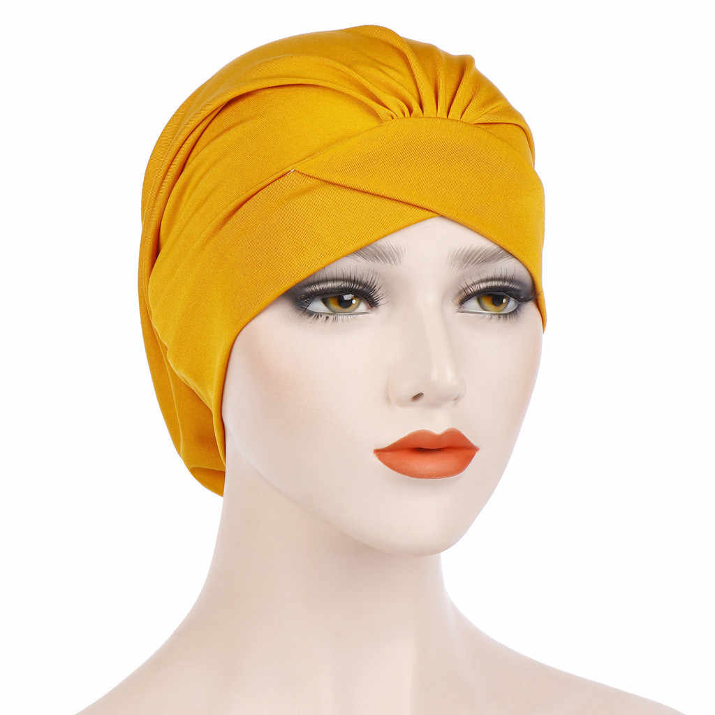 1PC Women Muslim Turban Cap Solid India Hat Muslim Ruffle Fashion Polyester Chemo Beanie Turban Wrap Muslim Hat Dropship Apr4