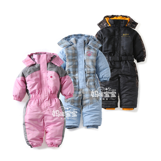 d591a950efd9 Snowsuit toddler boy girl Rompers Ski Jumpsuit Outdoor Winter Warm Thicken Snow  Suit waterproof windproof padded