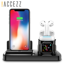 !ACCEZZ Desk Charger Stand 3 in 1 Magnetic Charging For iphone X XS MAX XR AirPods Apple i Watch Samsung Xiaomi