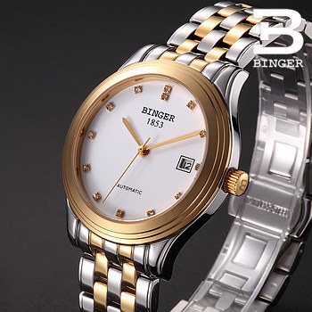 Hight Quality Stainless Steel With Gold Men Clock Fashion White Dial Golden Pointer Watch Mens Binger Waterproof Auto Watches