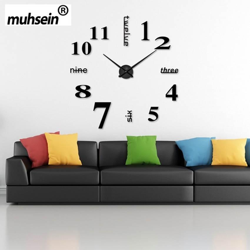 2017 New fashion 3D large size wall clock mirror sticker DIY wall clock home decoration wall clock meeting room wall clocks