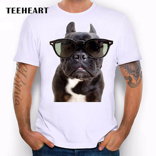 Black dog Cute Animal fun French Bulldog Sunglasses Funny Joke Men T Shirt Tee