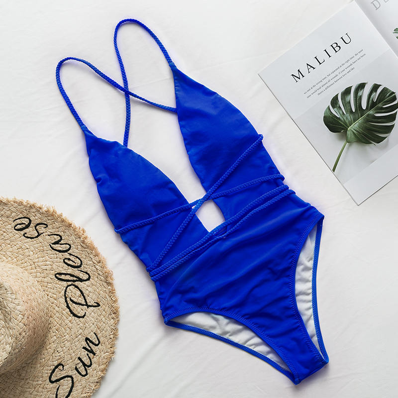Halter neon bikini deep v-neck bathing suit women monokini String sexy swimsuit one piece bodysuits High cut swimwear women 2019