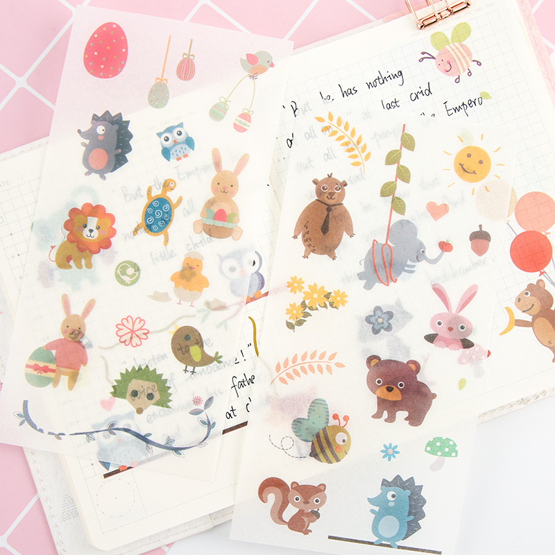 6pcs/pack bear animal washi paper kawaii cute stickers stationary sticky school kids gift for planner scrapbooking decorative