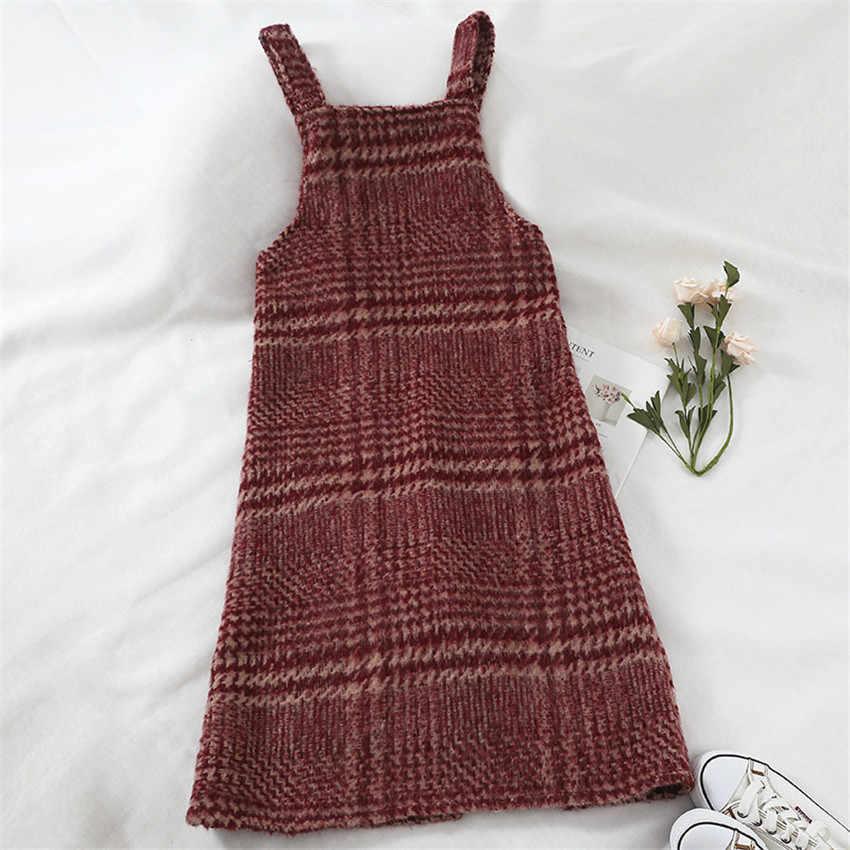 Gowyimmes 2019, модное весенне-осенний бордовый цвет, Женское шерстяное платье, милое клетчатое платье на бретелях для девочек, vestidos, теплая зимняя одежда, 220