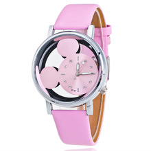 relogio feminino Fashion Mickey Women Watches quartz casual transparent hollow dial leather women watch dress wristwatches