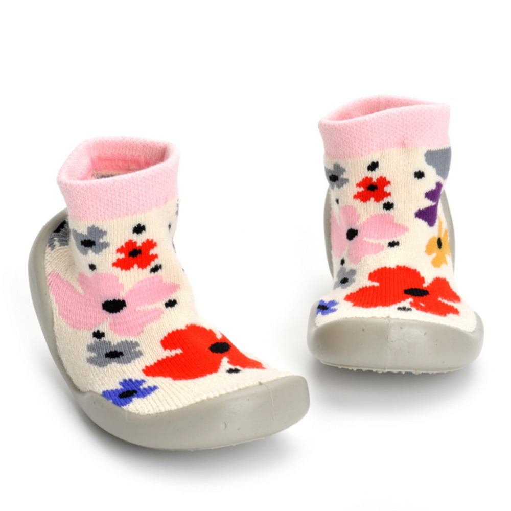 Girl Shoes For Kids Flowers Long Style Socks Shoes Toddler Girls Sneakers Indoor Warm Breathable Non-Slip Home Shoes