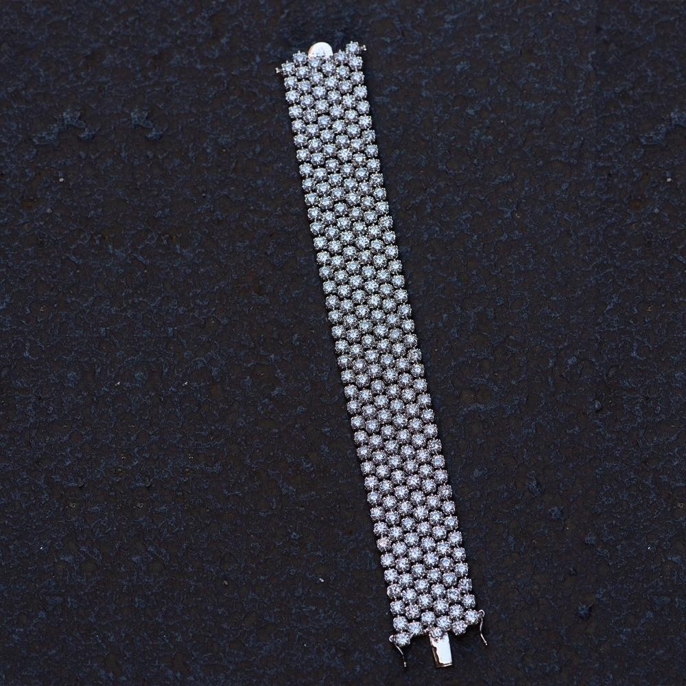 VANAXIN CZ Verharde Bling Bling Armband Voor Vrouwen Charmante Bruiloft Sieraden Volledige Rhinestone Gift Verzilverd Goud Kleur 19CM doos-in Strandarmbanden van Sieraden & accessoires op  Groep 2