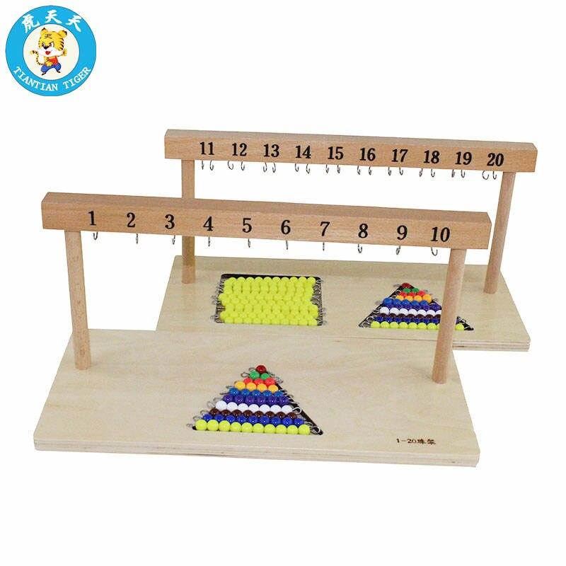 Bébé 3-6 ans Montessori Math jouet suspendus perles titulaire numéro de 1-20 avec perles de couleur aides pédagogiques scolaires