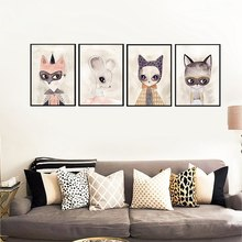 Cartton Animal Watercolor Fox Nordic Wall Art Canvas Painting Pictures Unframed for Living Room Home Decoration