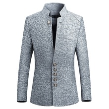 Business Casual Suit for Men New Arrival Male Autumn Spring Fashion Stand Collar Suits Chinese style Blazers Coat M-5XL