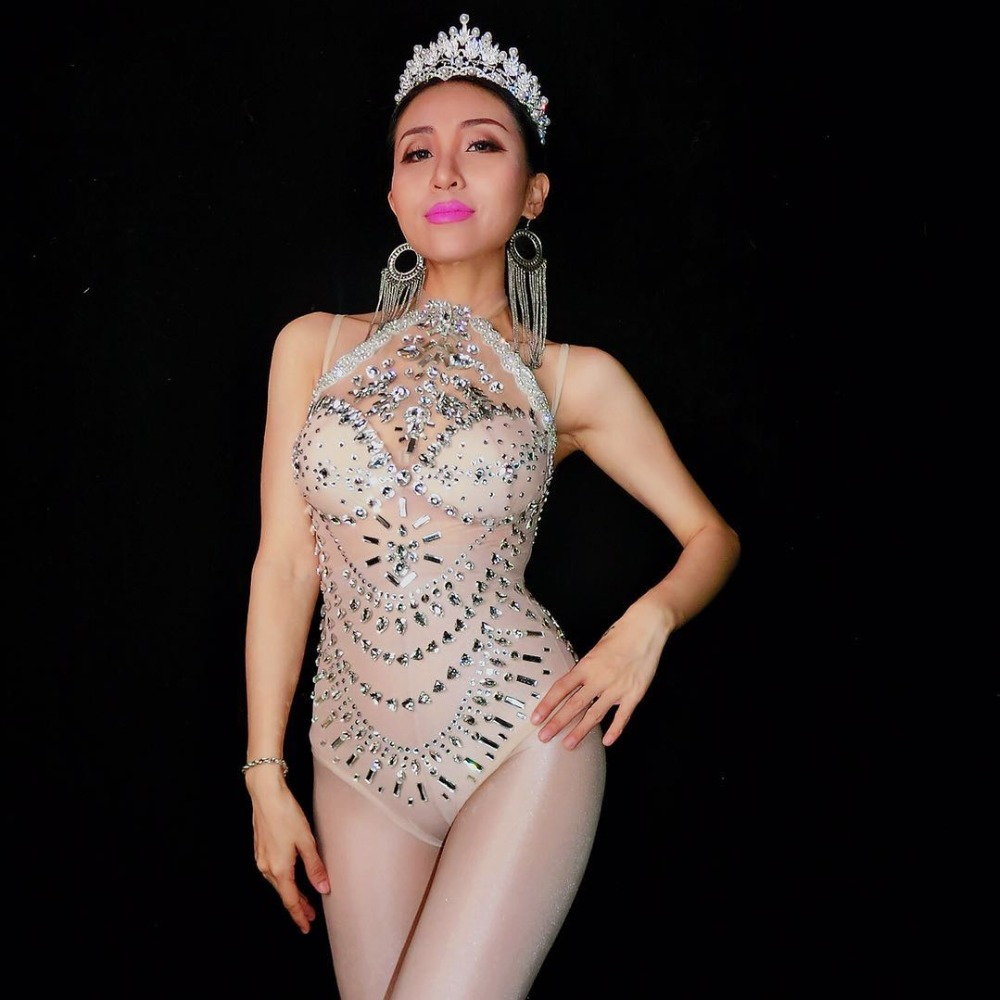 Shining Rhinestones Bodysuit Sexy Mesh Perspective Clothes Bling Glass Stones Jumpsuit Female DJ Singer Bar Party Stage Costumes
