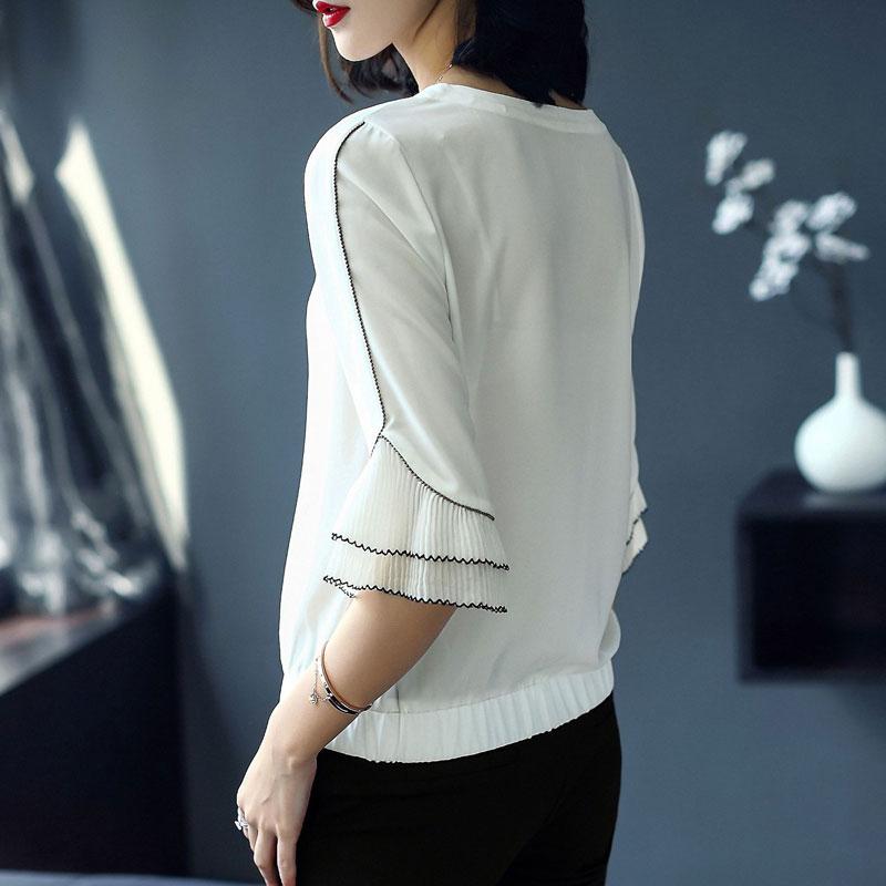 88b12351b04fed Nero O Collo Oversize Chiffon Moda Delle bianco Camicie Estate Flare 2018  Il Nuovo Arrivo Tre Quarti Donne Di ...