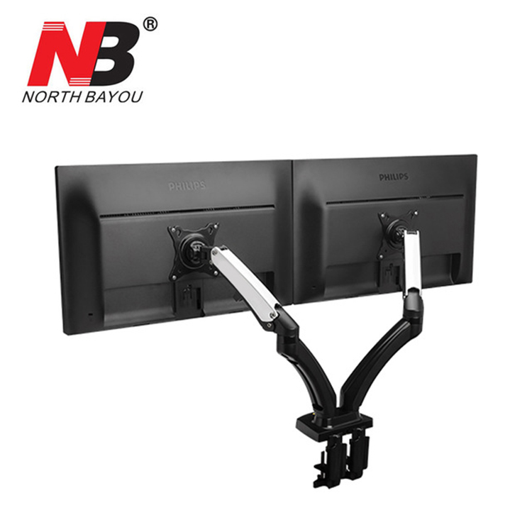 2017 New NB F180 Gas Spring Full Motion 17-27 Dual Screen Monitor Holder Desktop Clamping/ Grommet TV Mount With Two USB Ports nb f180 gas spring full motion 17 27 dual screen monitor holder desktop clamping or grommet tv mount with usb and audio port