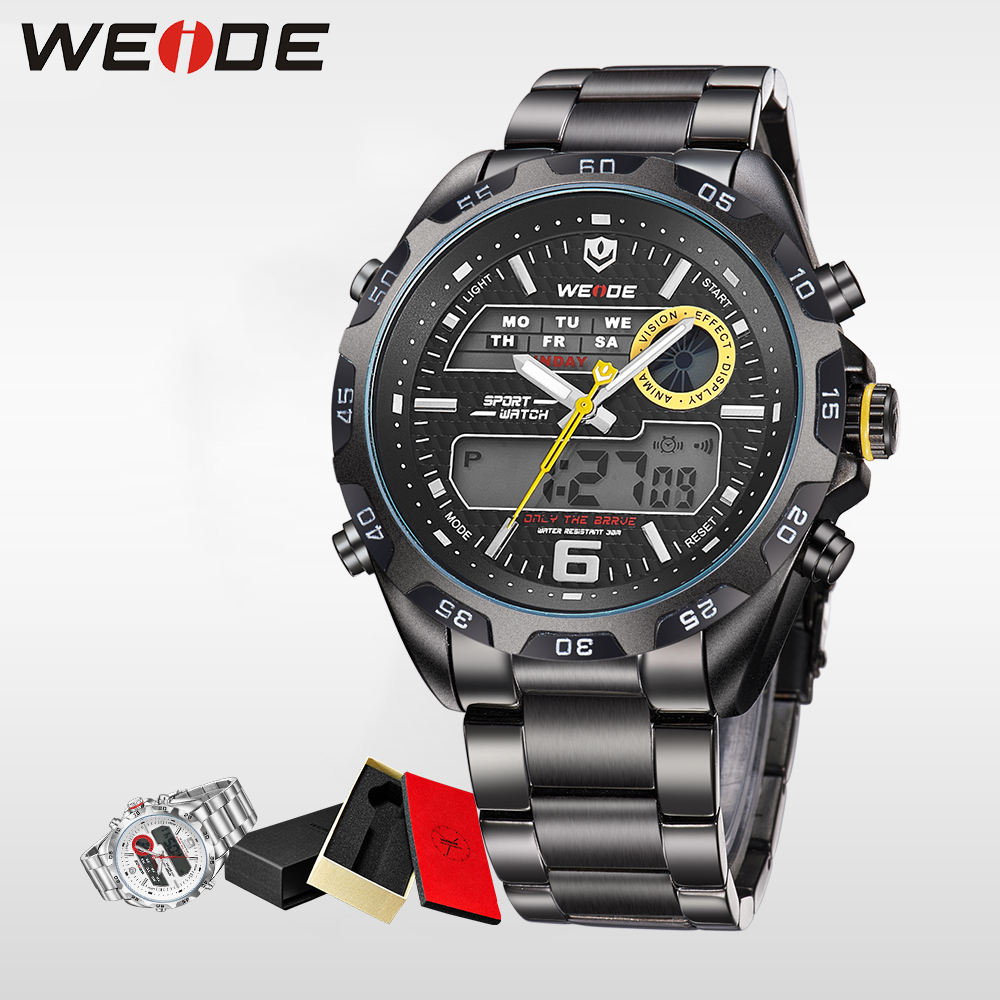WEIDE Water Resistant 2017 top men watch luxury Analog black quartz watches stainless steel date digital LED sport horloge clock weide irregular men military analog digital led watch 3atm water resistant stainless steel bracelet multifunction sports watches
