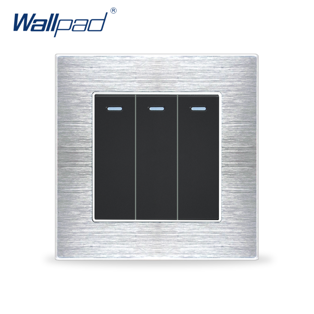 3 Gang 2 Way Switches Wallpad Luxury Wall Light Switch Satin Metal Panel Rocker Switches Interrupteur цена и фото