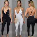 Women Fashion Bodysuit 2016 Summer Style Sexy Backless Deep V Neck Halter Cross Sleeveless Black Shorts Bodycon Jumpsuits