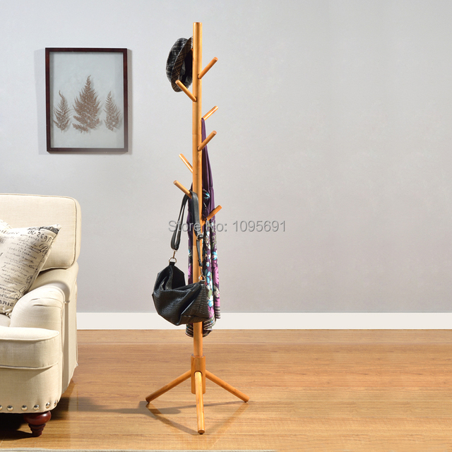 creative fashion brown white wood coat and hat wooden rack floor coat hanger with 8 - Creative Hat Racks