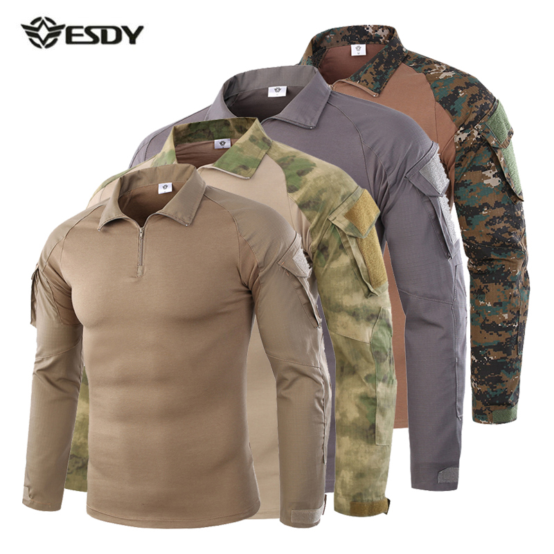 Men Tactical Shirt CS Shooting Camouflage Combat Outdoor Quick Dry Fishing Clothing Hiking Training Camping Hunting Clothes esdy 617 men quick dry sleeve removable outdoor shirt camouflage ruins l