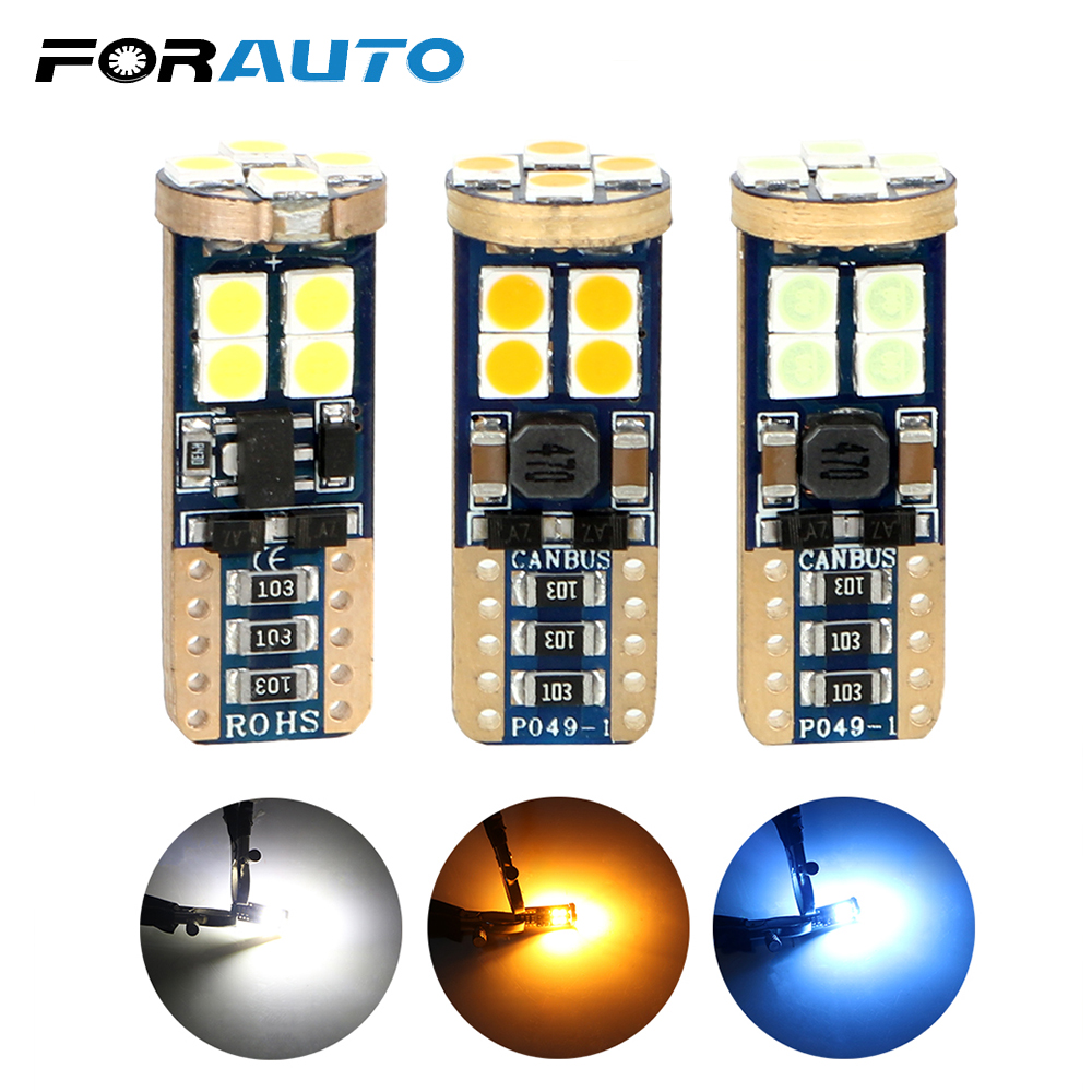 FORAUTO T10 194 W5W 3030 <font><b>12</b></font> <font><b>SMD</b></font> Car LED Bulbs Wedge Lamp Error Free DC 12V Super Bright Canbus Auto Interior Light Reading Light image