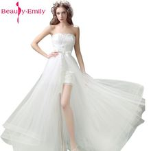 Beauty-Emily  Two Pieces Removeable Train White Wedding Dresses 2017 Off the Shoulder Sweetheart Sheath Party Gowns