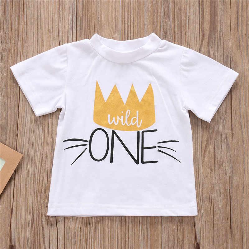 แขนสั้นเด็กทารกฤดูร้อนเสื้อยืด 1ST วันเกิดมงกุฎพิมพ์เสื้อน่ารัก Tee สำหรับ Baby Boy เด็กวัยหัดเดินเด็กเสื้อยืดเสื้อ