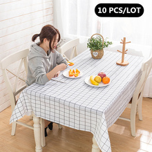10 PCS Nordic plaid Decorative Linen Tablecloth Waterproof Oilproof Anti-scalding Rectangular Wedding Dining Table Cover