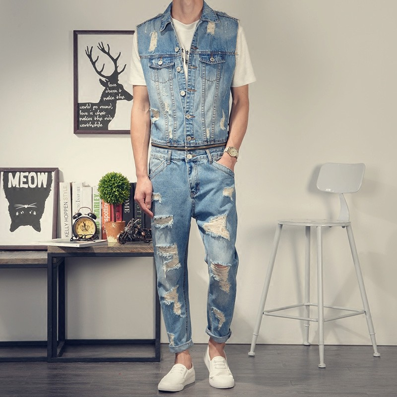 One Piece Mens Summer Cargo Jumpsuits Personality Zipper Waist Sleeveless Overalls Classic Torn Ripped Denim Romper Slim Pants gkfnmt 2017 women embroidery sequnis letter denim suspenders jumpsuits ripped jeans overalls casual summer pants big sizes