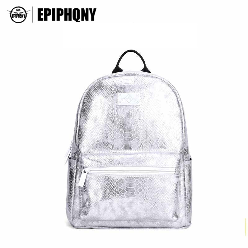 Epiphqny Brand Silver White Women Bagpack Serpentine Fashion Design Female PU Leather Backpack School Back Pack Bag for Lady women backpack fashion pvc faux leather turtle backpack leather bag women traveling antitheft backpack black white free shipping