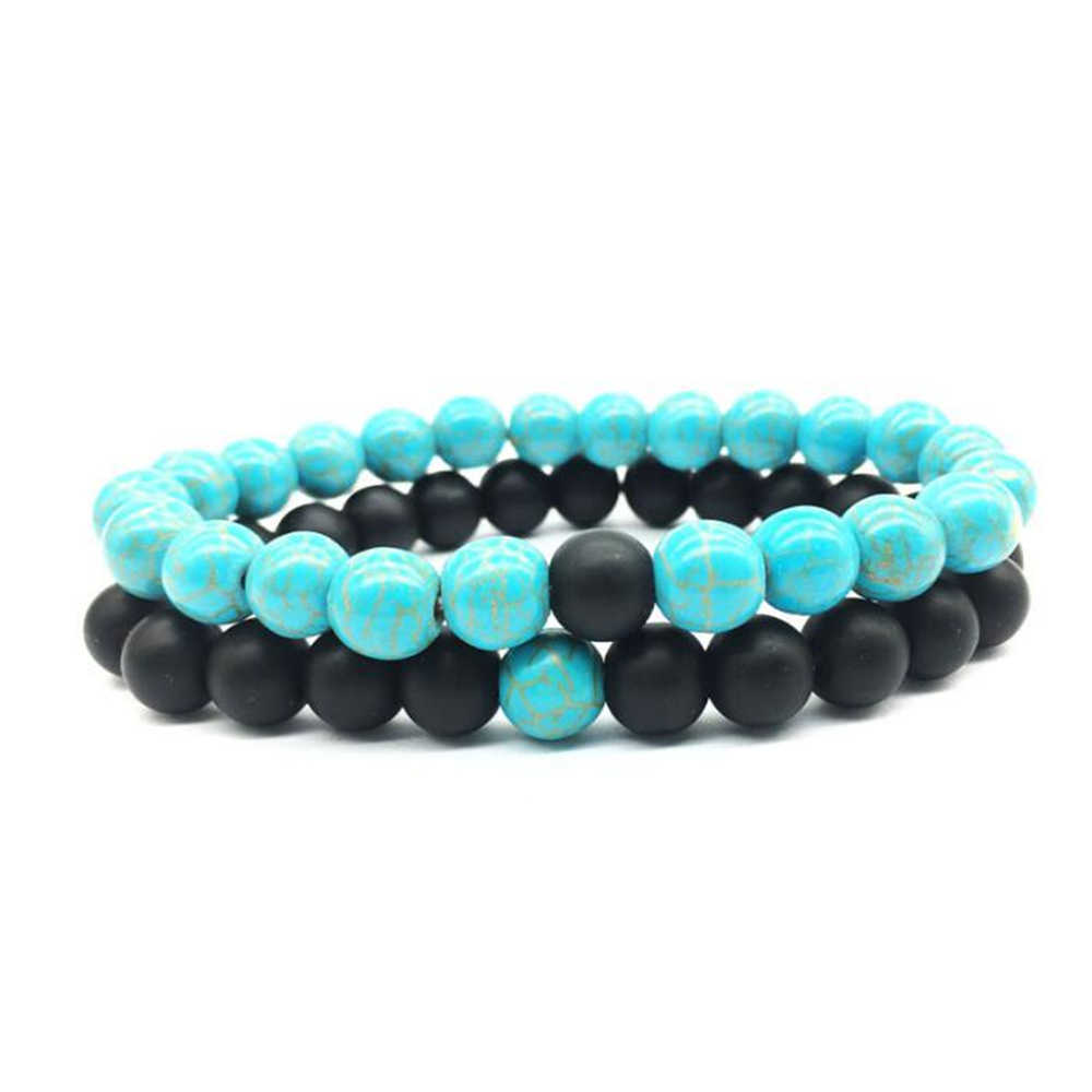 8mm matte black matte natural white couple bracelet yoga bracelet 8mm natural stone 2 pcs set Beaded Bracelets for Men Women