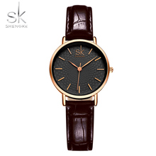 Shengke Women Dress Wrist Watches Red Black Leather Watchband Luxury Golden Dial Female Style Clock Ladies New Wristwatch 2017