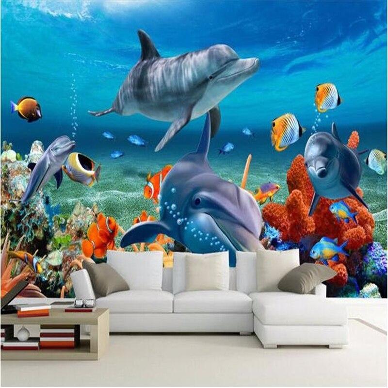 Beibehang  wallpaper 3d painting HD  3D  Living room bedroom sofa background dolphin underwater world large mural wallpaper 3d