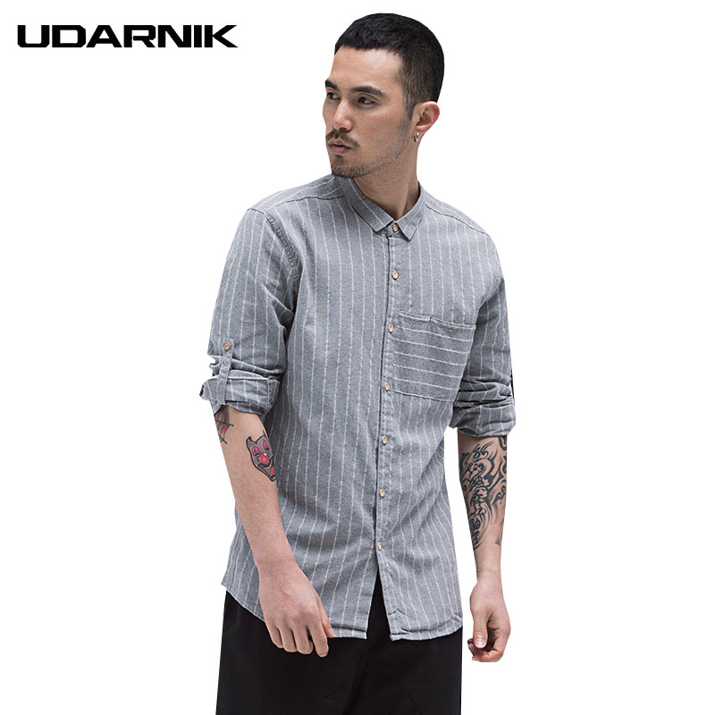 YUNY Mens Striped Long Sleeve Fashion Button Turn-Down Collar Shirt Red S