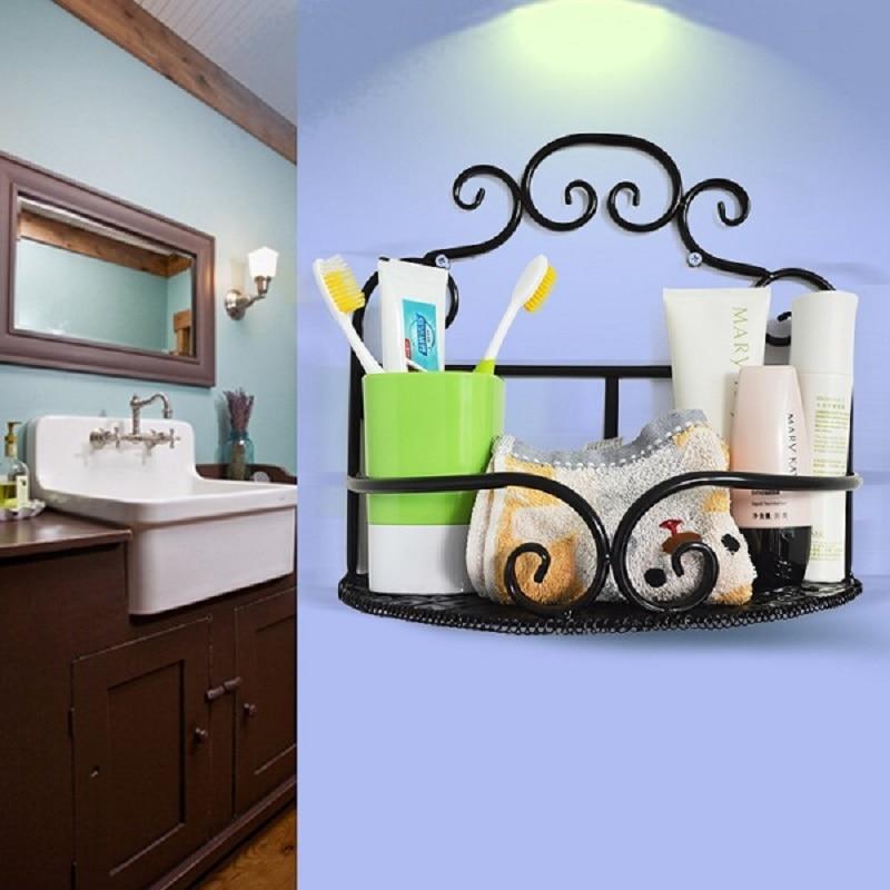Home supplies storage shelving wrought iron wall bathroom shelf