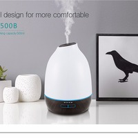 INVITOP 500ml Air Humidifier Wood Grain Ultrasonic Essential Oil Diffuser Aroma Air Purifier 7 Color LED