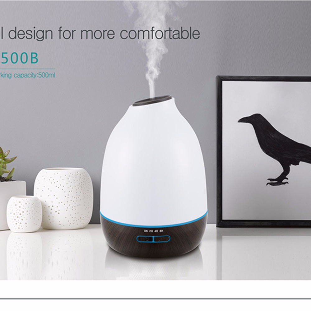 INVITOP 500ml Air Humidifier Wood Grain Ultrasonic Essential Oil Diffuser Aroma Air Purifier 7 Color LED Change 110v-240v humidifier 500ml wood grain 110v 220v air humidifier colorful led aromatherapy ultrasonic humidifier