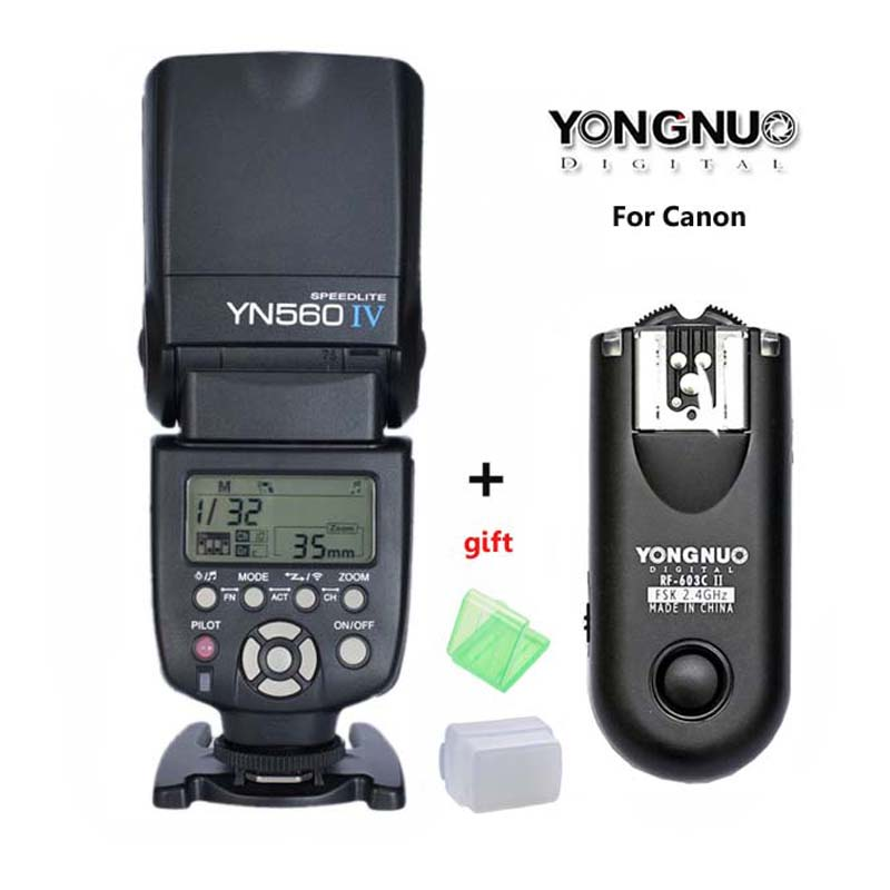 YONGNUO YN-560 IV Master Radio Flash Speedlite + RF-603 II Wireless Trigger for Canon 1000D 650D 550D 450D 6D yongnuo 3x yn 600ex rt ii 2 4g wireless hss 1 8000s master flash speedlite yn e3 rt flash trigger for canon eos camera 5d 6d