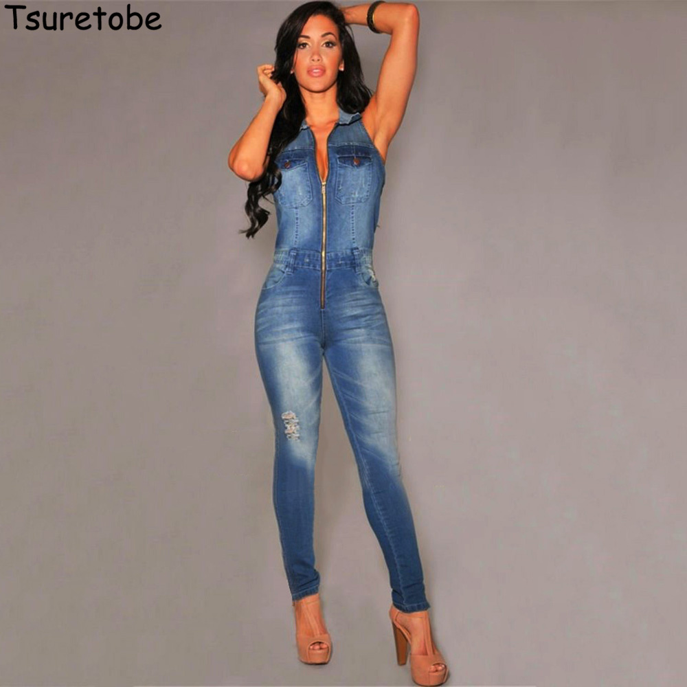 Tsuretobe Bodycon Denim Jumpsuit Women V Neck Sexy Jeans Jumpsuit Blue Bodysuit Casual Streetwear Girls Playsuit Hot Sale Female