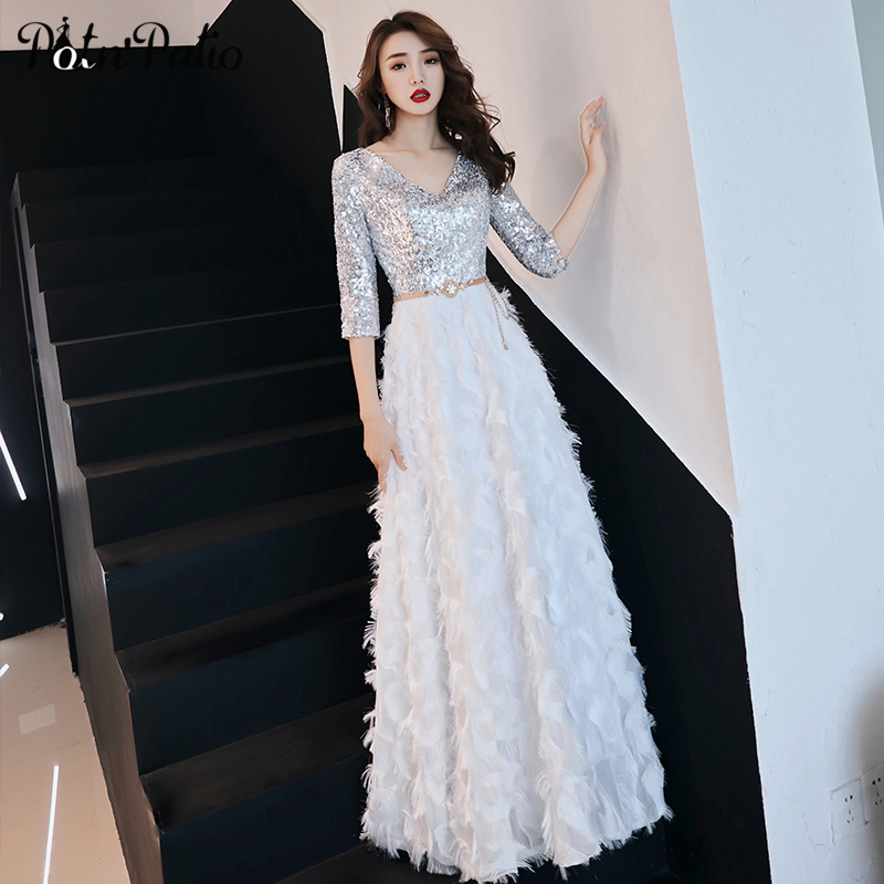 Elegant White Feathers   Prom     Dress   with Half Sleeve Sexy V-neck Shiny Sequin Long Evening Party   Dresses   Luxury Formal Gowns 2019