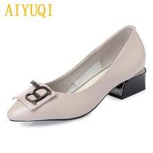 Купить с кэшбэком AIYUQI women's dress shoes 2019 spring new genuine leather women's shoes, banquet fashion rhinestone brand shoes women,