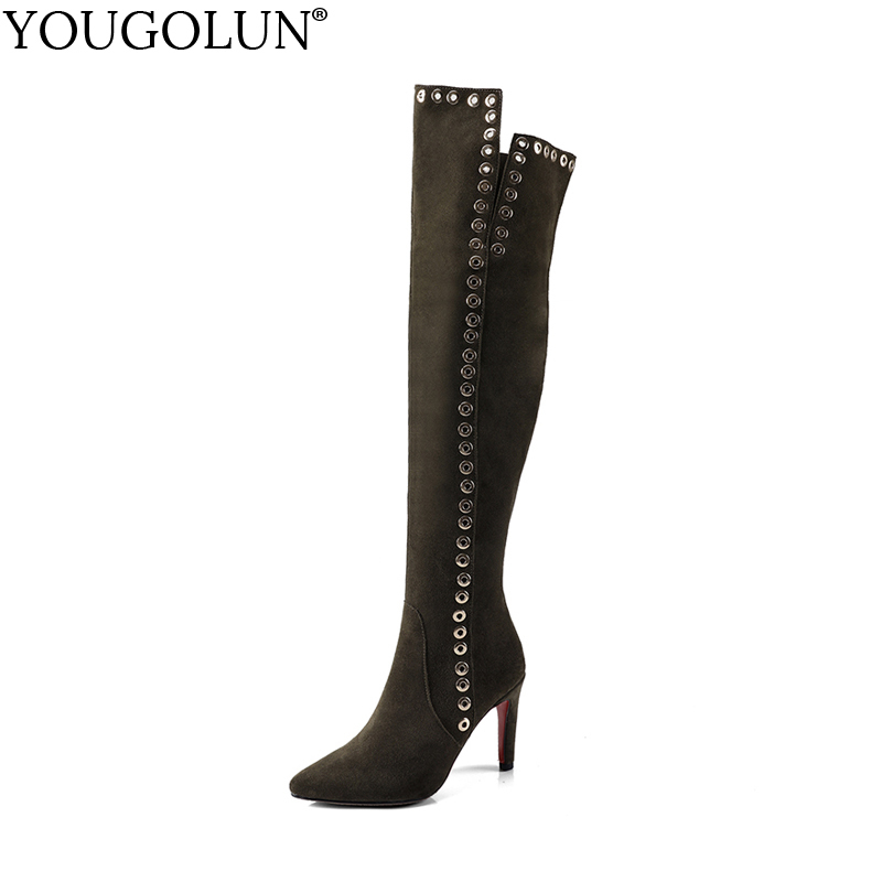 YOUGOLUN Women Thigh High Boots Winter Cow Suede Pointed toe Thin Heels 9.5 cm Over the Knee High Army Green Rivets Shoes #Y-184