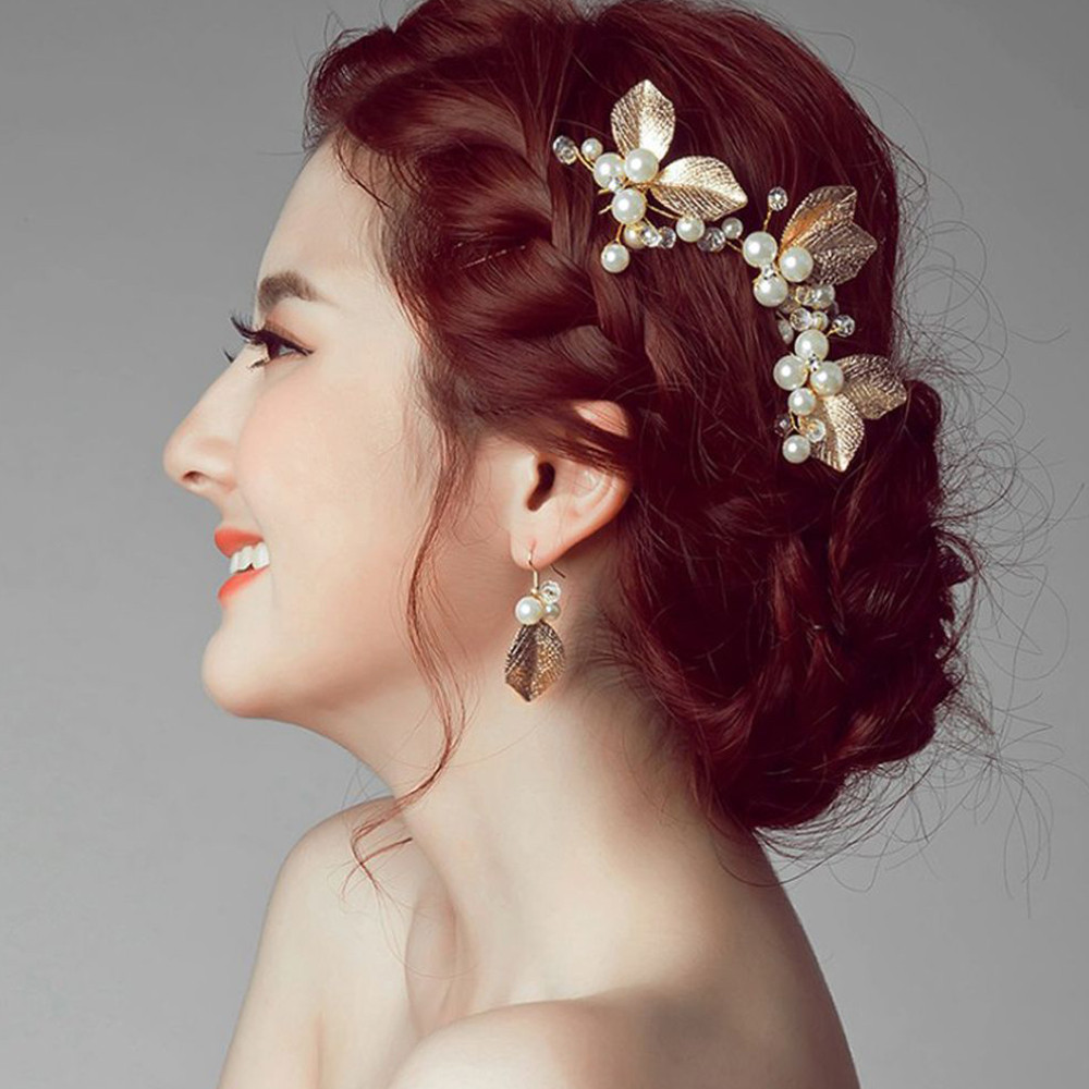 Hairpin Pearl Bow Prom Hair Clip Gold Tone Braid Bun Barrette Headwear Wedding