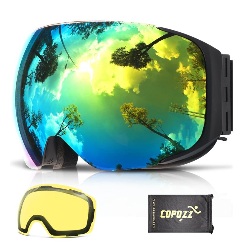 COPOZZ Magnética Óculos De Esqui com Intercambiáveis Amarelo Lente Anti-fog e UV400 Proteção Óculos de Snowboard para Mulheres Adultas Dos Homens