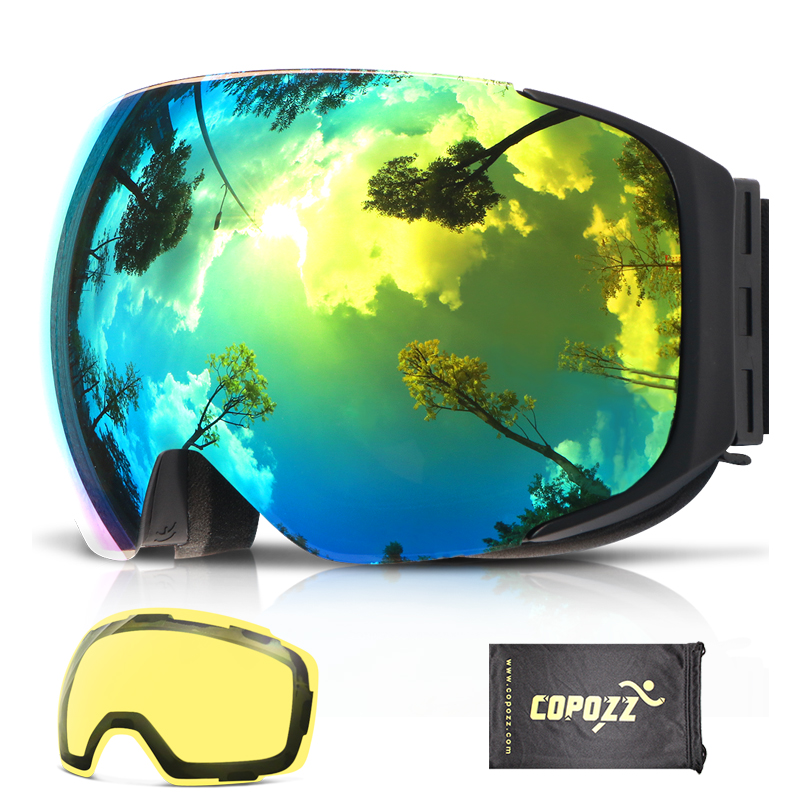 COPOZZ Magnetic Ski Goggles with Interchangeable Yellow Lens Anti fog and UV400 Protection Snowboard Goggles for