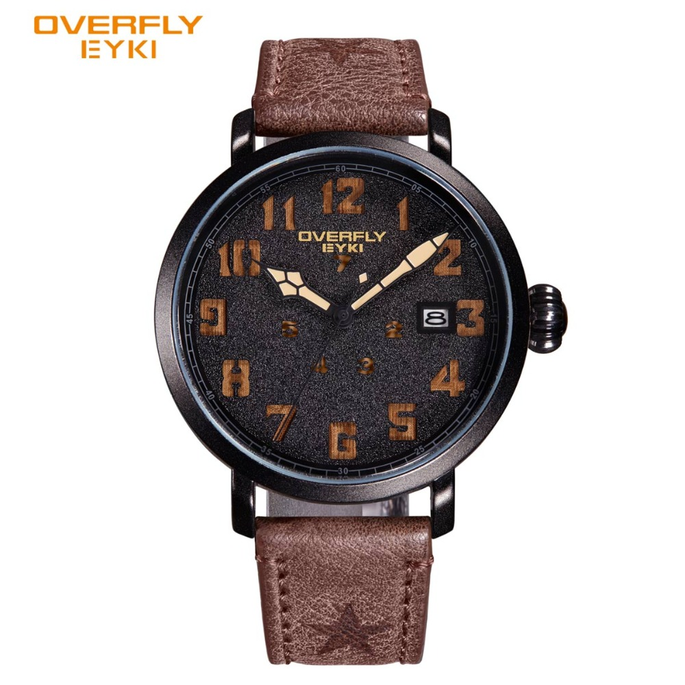Eyki Hot Sale Fashion Shock Sport Watch Military Army Dial Unique Leather Strap Men Watches 2017 Luxury Brand Clock Wristwatch hot sale creative black dial two red point men wristwatch unique turntable leather band strap women s quartz watch