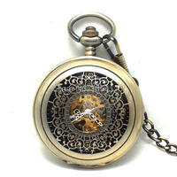 20pcs Lot DHL Free Shipping Retro Bronze Hollowed Flower Double Opened Flip Mechanical Pocket Watch Christmas