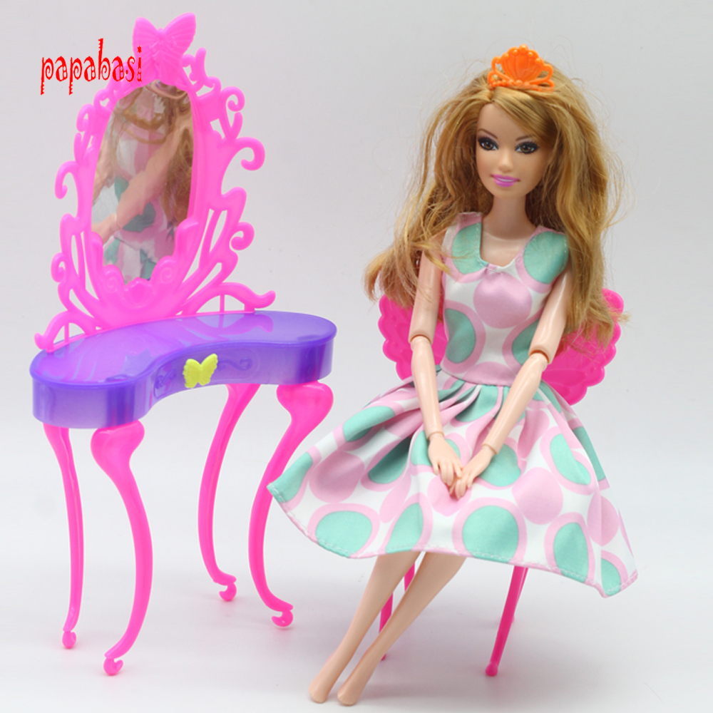 Birthday gift toys for baby girls play house toys Fairy butterfly dresser dressing table with chairs doll house for barbie doll