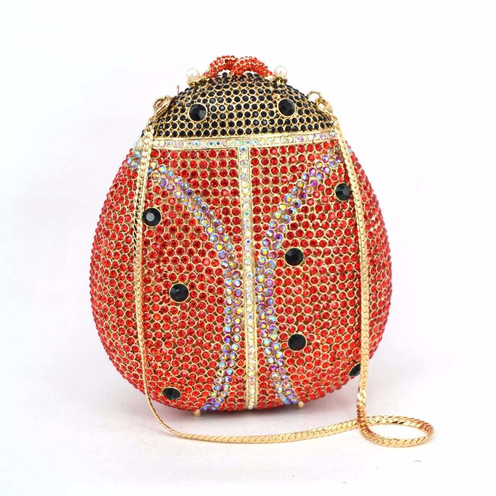 Gold-plated fashion set rhinestones high-grade dinner packages Lady beetle hand bag evening bag wholesale foreign trade 88242Gold-plated fashion set rhinestones high-grade dinner packages Lady beetle hand bag evening bag wholesale foreign trade 88242