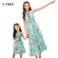V TREE Summer Family Matching Outfits Mother And Daughter Dress Beach Green Chiffon Dress Mother Daughter